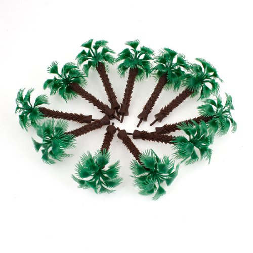 Boutique 9cm High Scale 1:100 Green Plastic Short Palm Model Tree 10 Pcs(China (Mainland))