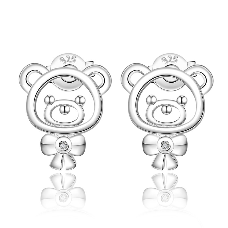 Vintage Accessories Wholesale Silver Plated Mini Bear Design Inlay Zirconia Stud Earrings Fashion Jewelry For Women QA0611(China (Mainland))