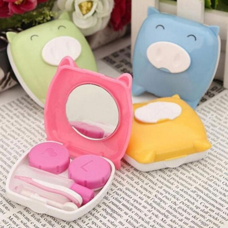 Amazing Cartoon Piggy Travel Potable Mini Cute Eye Contact Lens Case Box for Eyewear Accessories(China (Mainland))