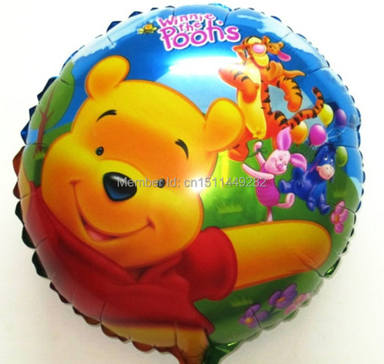 10Pcs/Lot Free Shipping tiger and Winnie Bear Balloon Happy Birthday Party Baby Shower inflate Balloon bubbles for kids globos(China (Mainland))