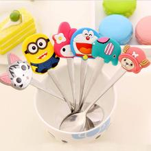 Children Gift Cartoon Silicone Handle Stainless Steel Spoon Ice Cream Dessert Spoon Fashion Tea Coffee Stirring Tableware Spoon(China (Mainland))