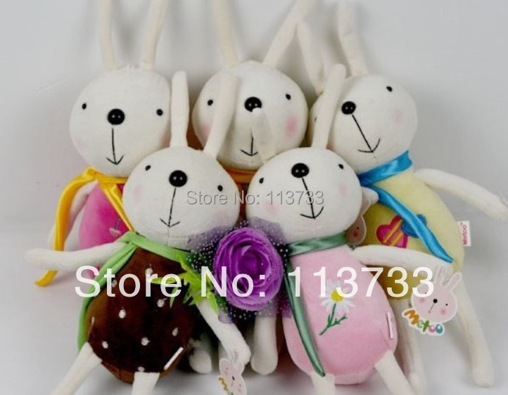Wholesale  20CM Plush Rabbit Bunny Stuffed Cartoon Animals Toys Animals Ribbon scarves Christmas decorations Dolls Gift   F8<br><br>Aliexpress