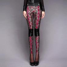 2015  Hot Sale! America New PU Leather Pants Long Tight Embroidered Lace Stitching Pencil Casual Pants 25 26 27 28 29 30(China (Mainland))