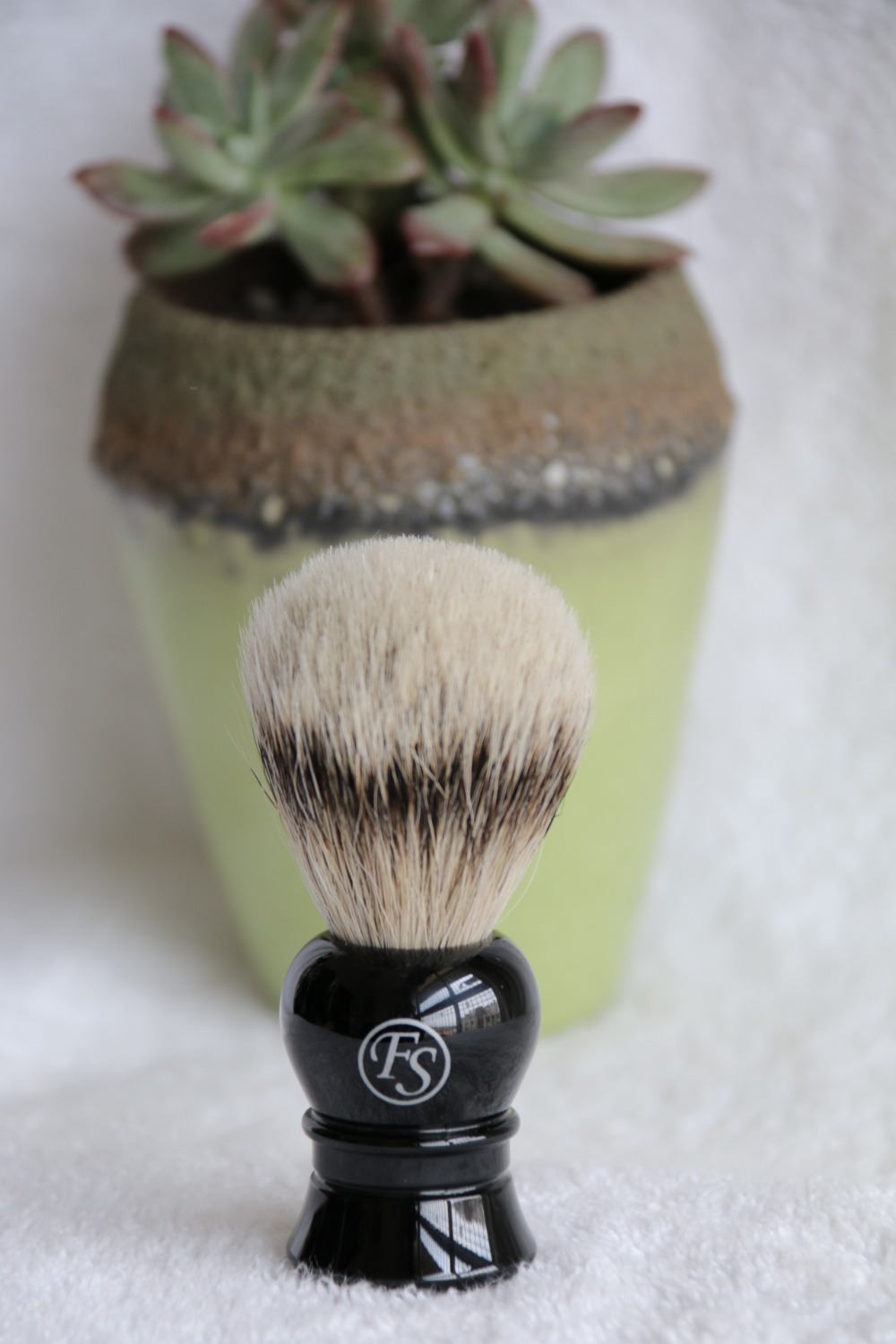 Frank Shaving-Silvertip Badger Shaving Brush,Faux Ebony Handle, knot 20mm+FREE STAND #12