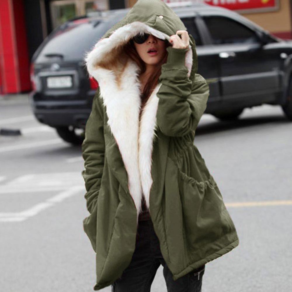 2015 New Winter Wool Jacket Women Coat Warm Casual Girls Outwear Ladies Overcoat Fur Collar Down&Parkas Plus Size 1110