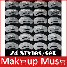 (24 styles/lot)Shaping Eyebrow stencils 24 styles reusable eyebrow drawing guide card brow template DIY makeup tools wholesales