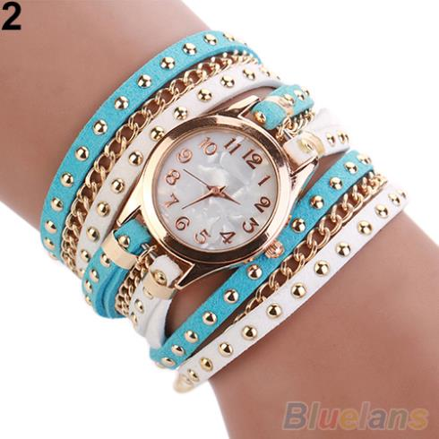 2015 New Colorful Multilayer Rivet Faux Leather Band Wrap Bracelet Wrist Watch Women 2J1O