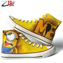 Cartoon Anime Figure Painted Men's Despicable Me Minion Shoes Women and Men Canvas High Tops Shoes Graffiti Minions Shoe