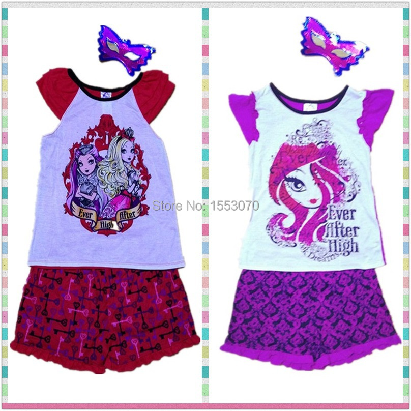 Newest Ever after high suit Baby Girls Clothes Children Suit casual Cotton Tshirts + Shorts Kids Clothes Sets Monster high sets(China (Mainland))