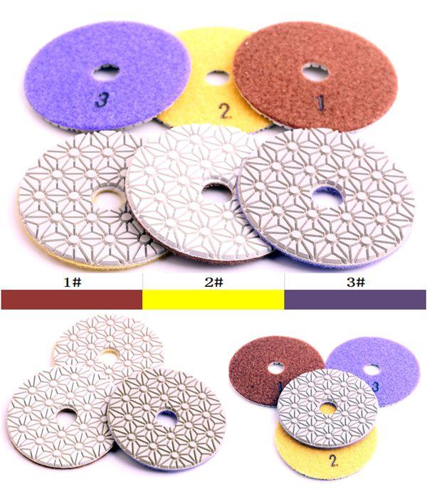 free shipping DC-FW3PP02 D100mm flexible wet polishing diamond 3 step polishing pads for stone(China (Mainland))