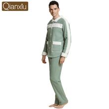 Qianxiu Cotton-padded jacket pajamas for men  floral pajamas set luxury satin smooth winter pyjama button fur collar warm(China (Mainland))