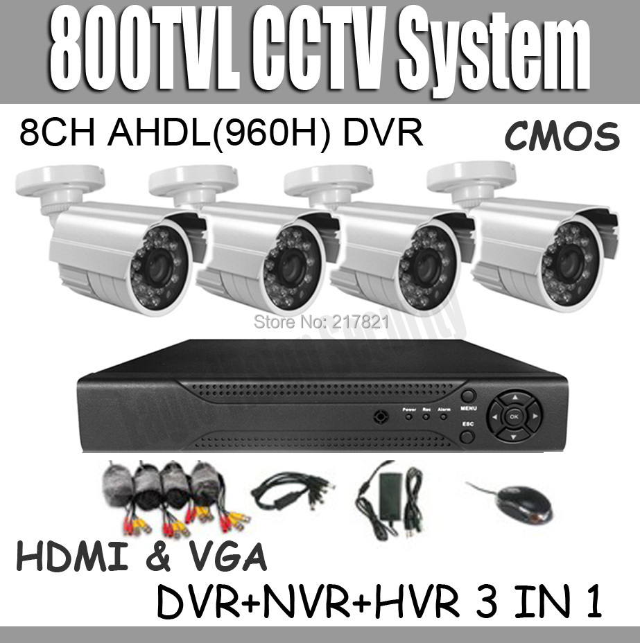 8ch CCTV System DVR Kit 8ch AHDL(960H) Full D1 Hybrid DVR NVR HVR 3 IN 1 800TVL waterproof outdoor Security Cameras System(China (Mainland))