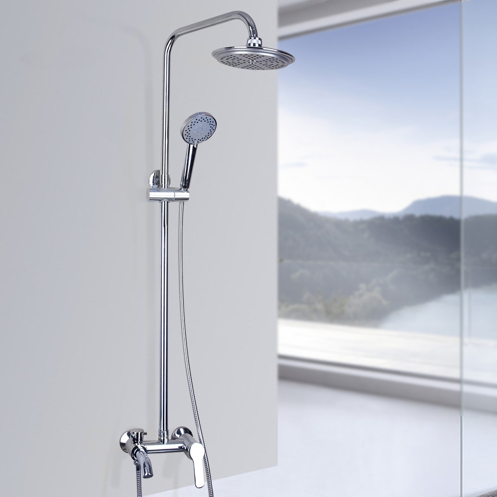 Contemporary Polished Chrome Bath&Shower Faucet Wall Mounted Shower Sets With Hot&Cold Water Mixer Shower Set Faucet(China (Mainland))