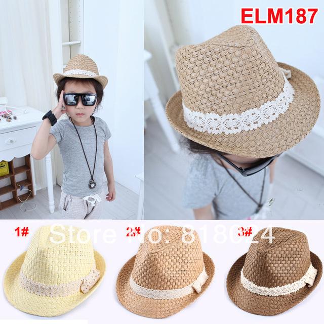 Сплошной лето дети солома мягкие фетровые шляпы мальчики девочки джаз кепка ну вечеринку шляпа дети солома лето дерби шляпа
