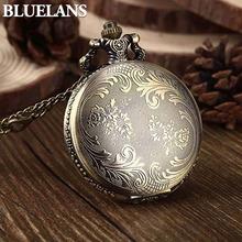 Retro Vintage Unique Bronze Quartz Pendant Chain Necklace Clock Pocket Watch 1NLV(China (Mainland))