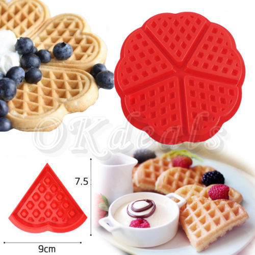 1 X Heart-shaped Waffles Mold 5-Cavity Bundt Oven Muffins Cake Pan Silicone Mold Baking Mould Tool(China (Mainland))