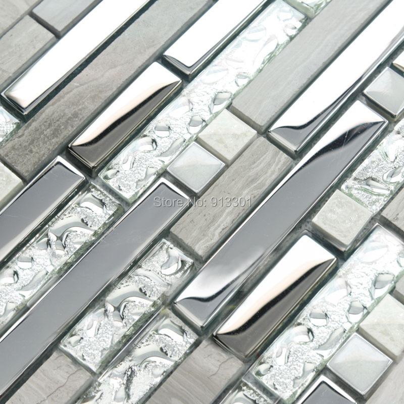 Azulejos da cozinha backsplash de vidro e de metal de aço inoxidável barato piso de pedra projeto 9831 3d azulejos do banheiro da telha adesivos de parede(China (Mainland))