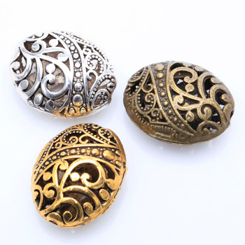 10pcs/lot Antique Silver Color Tibetan Silver Ellipse Shaped Hollow Spacer Bead Findings
