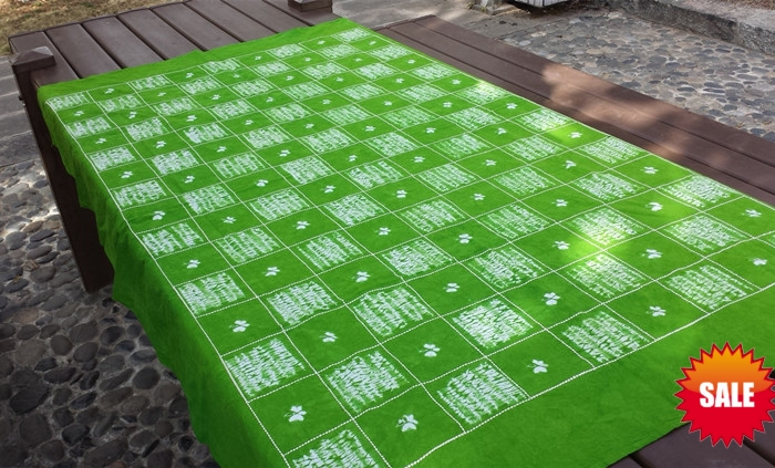 Japan Bandhani Tie dye Unique Original Design Decorative Arts / Export Handmade Itajime Green Plaid Table Cloth Many Uses(China (Mainland))