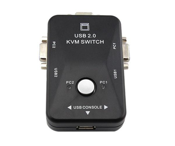 30pcs/lot high quality Portable 2 Port USB 2.0 KVM Selector VGA Print Auto Switch Box Keyboard Mouse(China (Mainland))