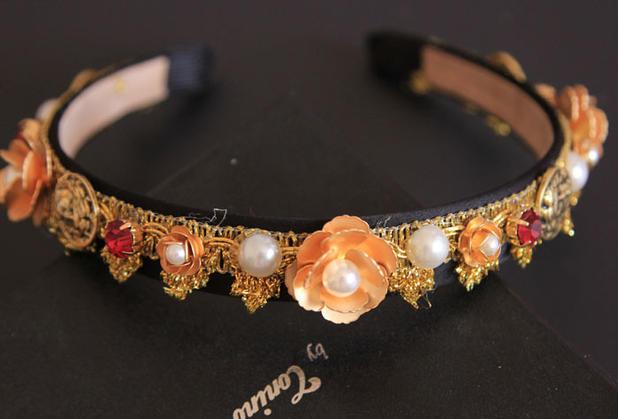 2015 runway Baroque women hairbands Headwear Vintage flower rhinestones gold luxury brand designed hairbands(China (Mainland))