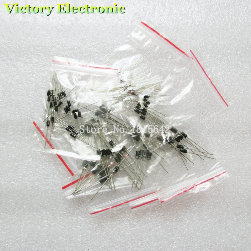 1N4148 1N4007 1N5819 1N5399 1N5408 1N5822 FR107 FR207,8values=100pcs,Electronic Components Package,Diode Assorted Kit(China (Mainland))