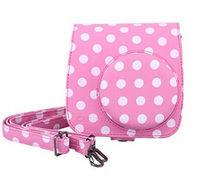 Vintage Instax Mini 8 Camera Case Bag With Film Count Show, PU Leather, Pink With White Dots XJB773