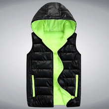 2016 New Arrival Brand Mens Sleeveless Jacket Male Fashion Designer Waistcoat Warm Hooded Cotton Winter Vests For Men 5 Size