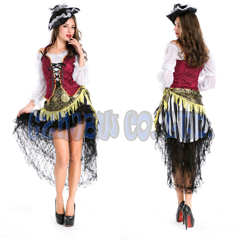 adult women Viking Pirate Queen witch Fancy Dress queen of Halloween for womens Cosplay Costume party Outfit