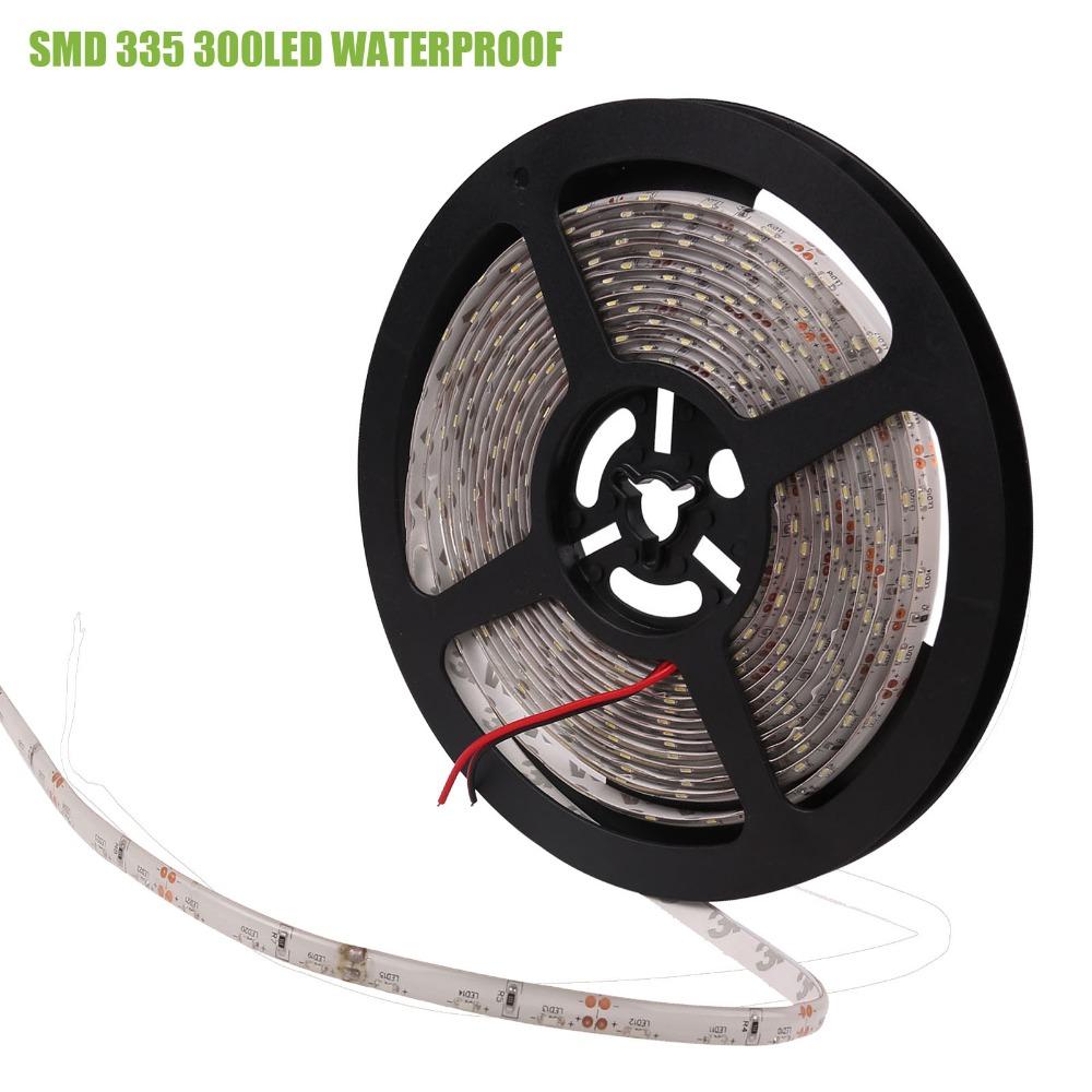 2016 New 5M 12V DC SMD 335 LED Strip Cool White Waterproof 300LED / 600 LEDS Flexible Strip Rope Light(China (Mainland))