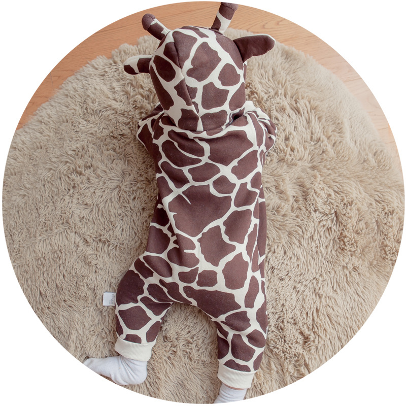 Brand fall winter cute baby rompers giraffe fleece lining baby hooded jumpsuit infants rompers newborn cotton outer wear 3-24M