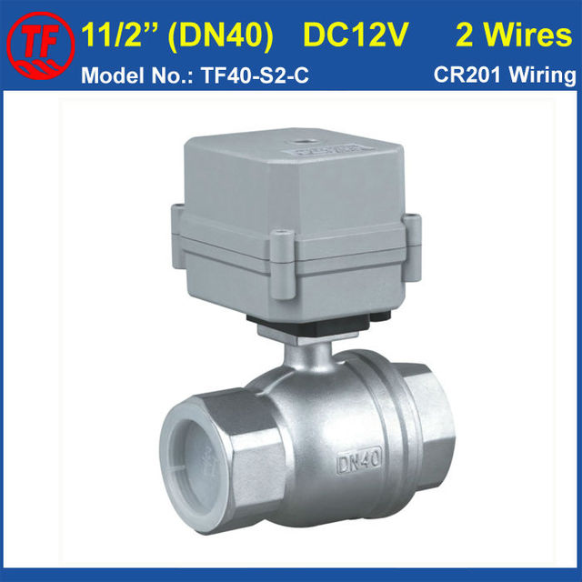 TF40-S2-C DC12V 2 Wires SS304 11/2'' dn40 Full Port 10NM Actuated Ball Valve On/Off 15 Sec For Water Treatment Swimming Pool