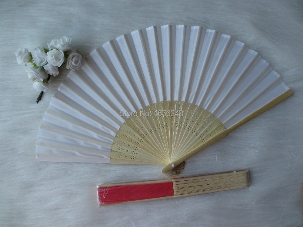 2014 Fashion Chinese Bamboo Fan Folding Fans Hand Fans White Wedding Fan In Event Amp Party
