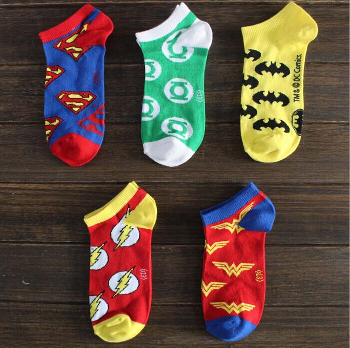 5pairs 1lot New Superman Batman Spider Man supper hero elite invisible socks summer style cotton