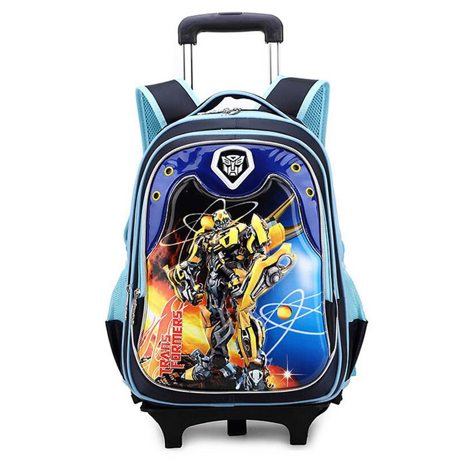 Kid Cartoon Boys Trolley School Bag Classic Travel Luggage Schoolbag Child with Wheels Backpacks for Boys Girls