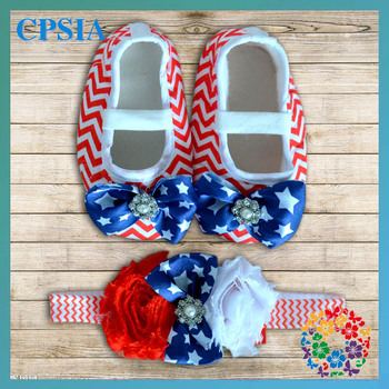 4th of july baby chevron crib shoes set Red White Blue stats shoes 24 sets/lot free shipping