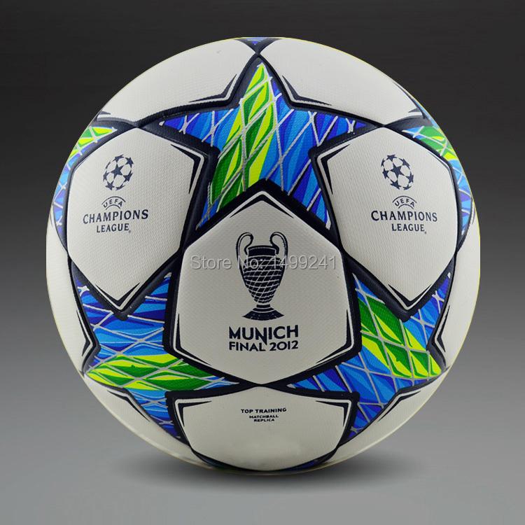 Hot Sale A+++ 2012 Champions League Football Final Munich Soccer Balls Seamless PU Granules Slip-resistant Size 5(China (Mainland))