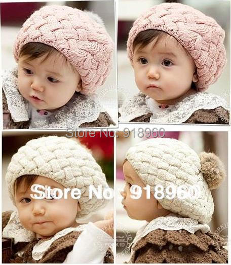 crochet gorro faux rabbit fur ball baby beanie knit newborn props,baby girls hats cap for 0-2 years old kids,elastic skullies(China (Mainland))