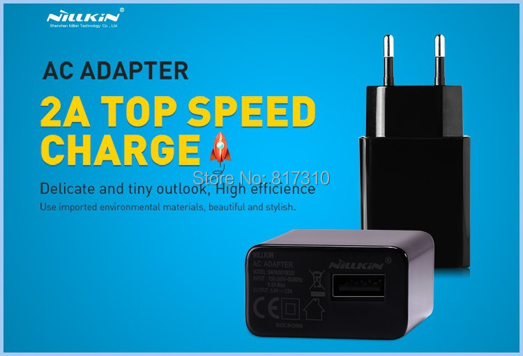 2A Top Speed Charger Original NILLKIN AC 2A EU USB Plug Power Home Wall Charger Adapter for Cell Phone USB Charger Free Ship(China (Mainland))