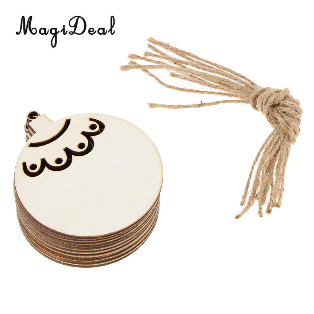 20pcs Christmas Woodcut Round Ball Hanging Gift Tag Christmas Tree Decor