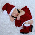 Retail Baby Girl Crochet Christmas Costume Hat Diaper Pants Set Newborn Baby Photo Props Toddler
