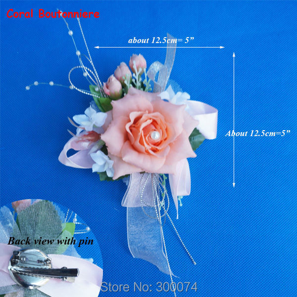 Brand Groom & Groomsmen Boutonniere Artificial Silk Open Rose Buttonhole Corsage For Prom Wedding Accessories For Groomen(China (Mainland))