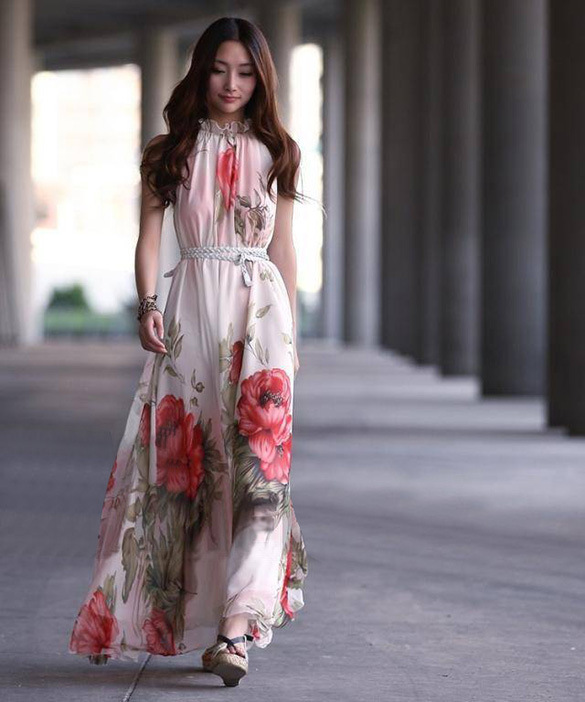 Free Shipping !!!Elegant Lotus Leaf Big Hem Chiffon Long Dress,chiffon dress Free Size Bohemian dress(China (Mainland))