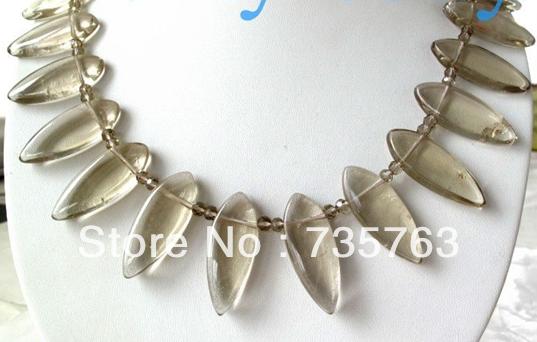 xiuli 001049 20mm Leaf Smoky Quartz Crystal Necklace 14K GP(China (Mainland))