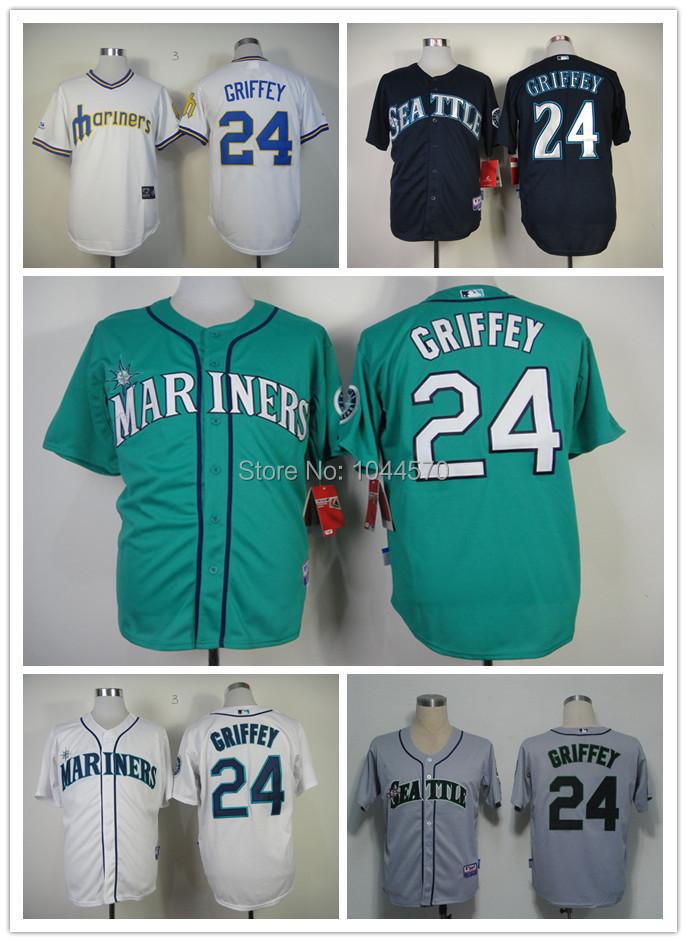 2014 NWT Seattle Mariners 24 Ken Griffey Jr Jersey White Green Blue Grey MN Cool Stitched Cheap men's throwback Baseball Jerseys(China (Mainland))