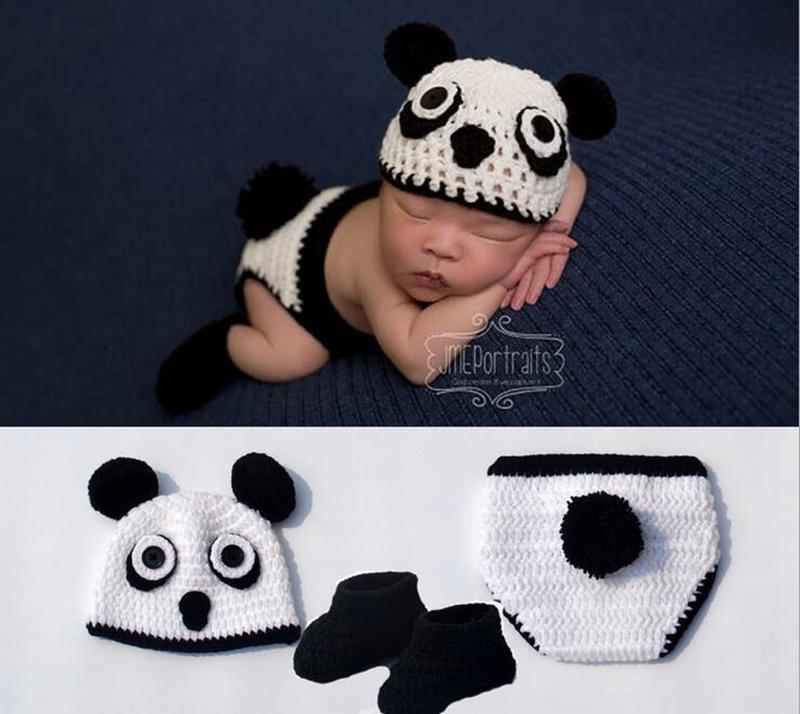 2016 New Arrived Lovely Panada Handmade Knitting Newborn Crochet Photography Props BP070(China (Mainland))