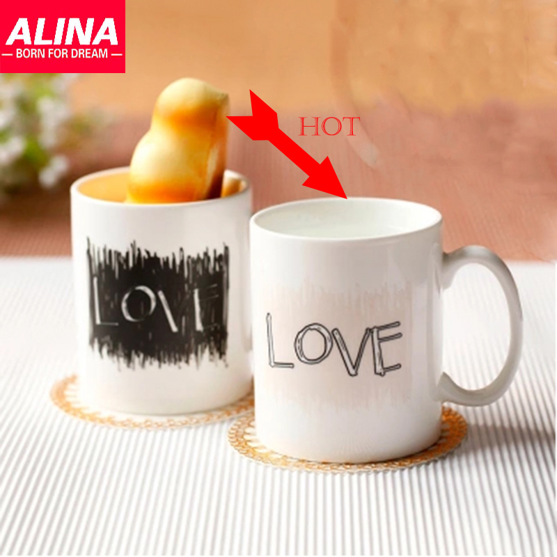 Creative Couple Cups Ceramic Mug Color Changing/Change Porcelain Cup White Coffee Mugs Love Novelty Gift(China (Mainland))