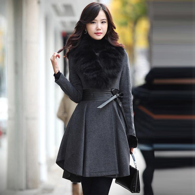 2013 autumn winter women medium-long woolen outerwear slim fur collar wool coat overcoat