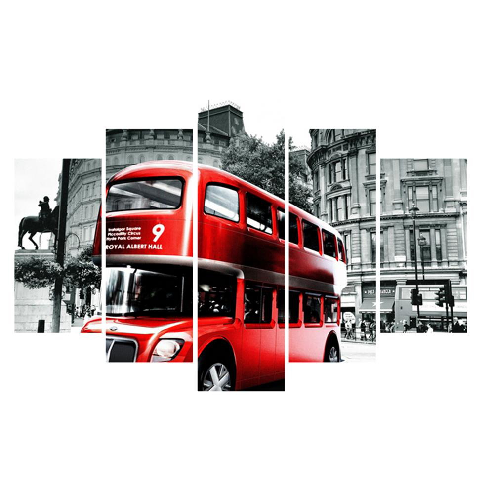 5pcs Vintage London Red Bus Photos Landscape Big Canvas Art Printing Picture Wall Painting Home Decoration (No Frame)AA0171(China (Mainland))