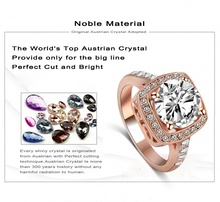 2015 Big Promotion Real 18K Rose Gold Platinum Plated SWA Element Austrian Crystal Engagement Rings Wholesale